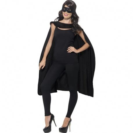 Plášť s maskou superhrdiny - Černý