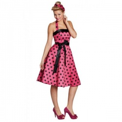 Retro šaty 50tá léta - růžové