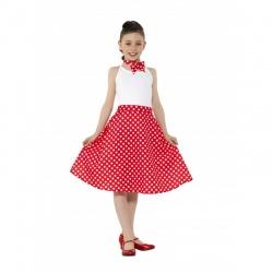 Dětská sukně s šátkem - červená s putíky - Polka Dot