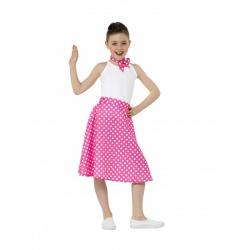 Dětská sukně s šátkem - růžová s putíky - Polka Dot