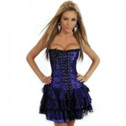 Modročerné krajkované šaty